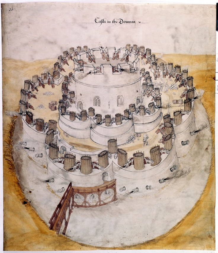 Design for Henrician castle on the Kent coast - This fortification plan or 'plat' is a survivor of the many that were stuffed into drawers in Henry's office in Holbein Gate in Whitehall Palace. In February 1539 Henry ordered three new castles to be built in the Downs of Kent, at Deal, Sandown and Walmer. This drawing must date from a few weeks later.