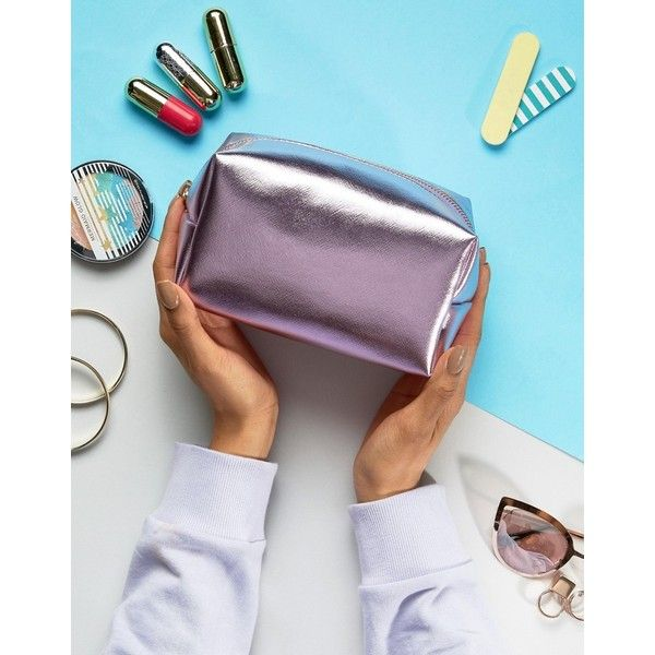 South Beach Pink Metallic Make Up Bag ($7.62) ❤ liked on Polyvore featuring beauty products, beauty accessories, bags & cases, pink, wash bag, makeup bag case, travel bag, make up purse and makeup purse
