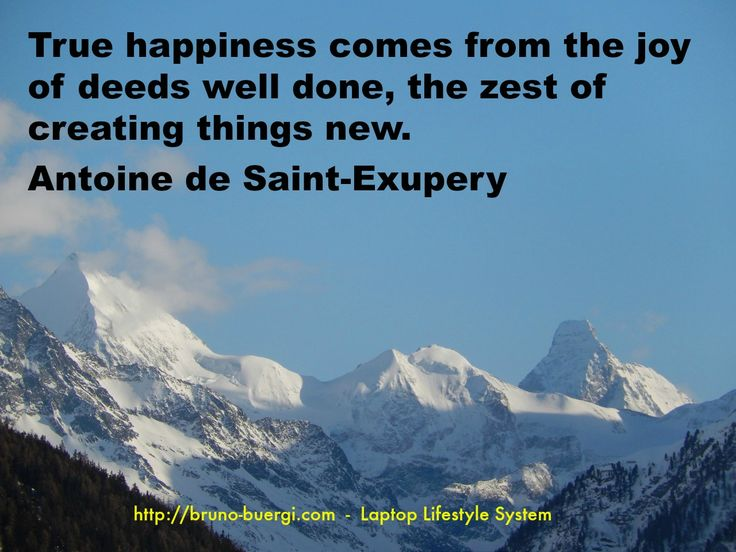 True happiness comes from the joy of deed well done, the zest of creating things new. Antoine de Saint-Exupery