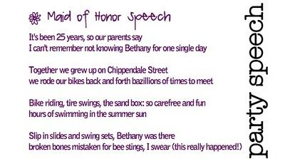 Maid Of Honor Speech Poem Idea