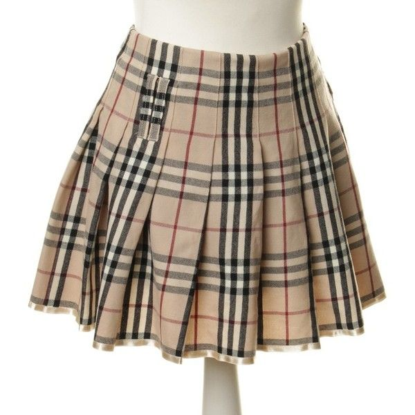 6f75ff4b1 Burberry Pleated skirt with Plaid ($92) ❤ liked on Polyvore featuring skirts,  brown pleated skirt, tartan skirt, burberry, plaid pleated skirts and  pleated ...