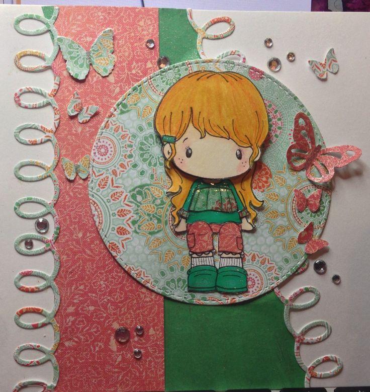 Blonde girl card. CC Design stamp, kaisercraft paper, Martha Stewart butterfly punch and mft looped border