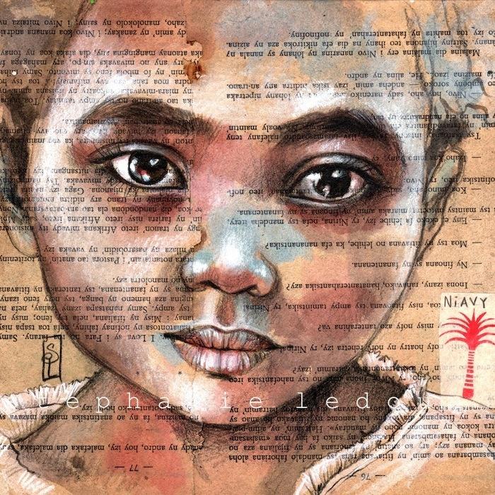 Les carnets de voyage de Stéphanie Ledoux - Portrait of little girl called Naivy in Madagascar