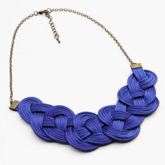 Cobalt blue knot satin rope necklace statement by SophiesKnotShop