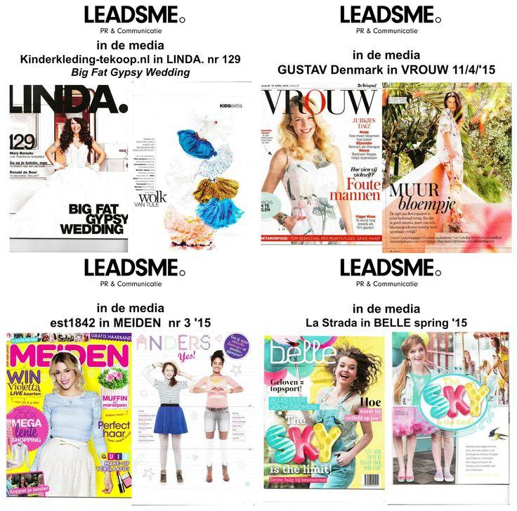 In de media - 16 april '15 | LeadsMe | P&R Communicatie - Kinderkleding-tekoop.nl in LINDA. - GUSTAV Denmark www.gustav-denmark.com in VROUW - La Strada www.lastradashoes.com in BELLE - Kinderkleding-tekoop.nl en @est1842 in Meiden Magazine.