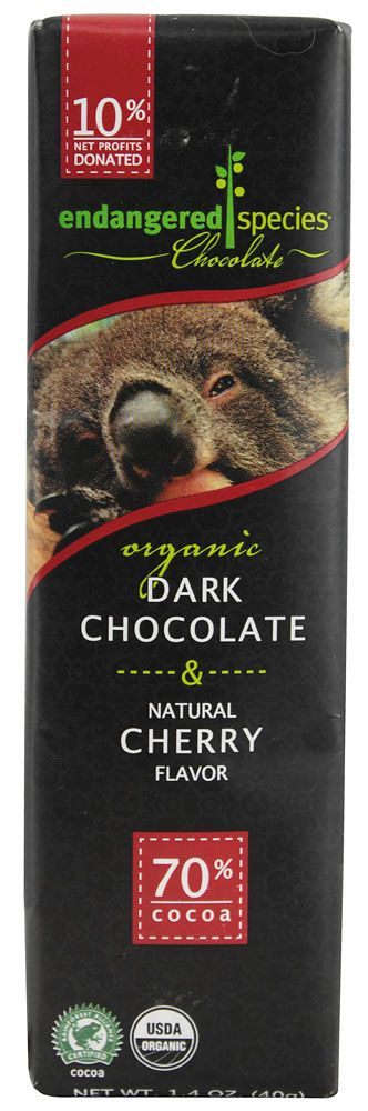 Endangered Species Chocolate Organic Dark Chocolate with Cherry
