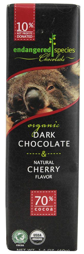 Endangered Species Chocolate Organic Dark Chocolate with Cherry
