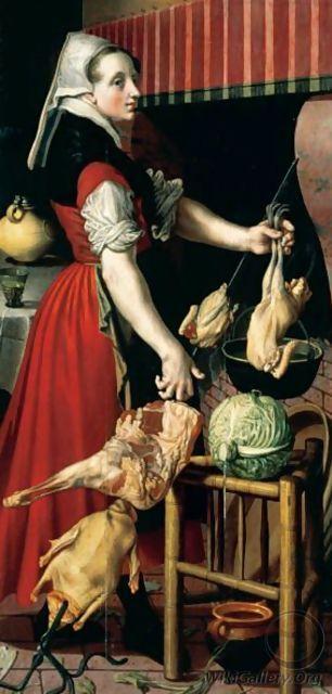 Pieter Aertsen (Dutch Northern Renaissance Painter, c 1508-1575) Kitchen Maid in an Interior Preparing birds