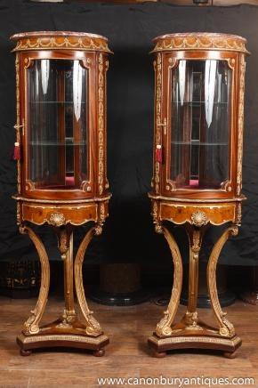 Pair French Louix XV Vitrines Display Cabinets