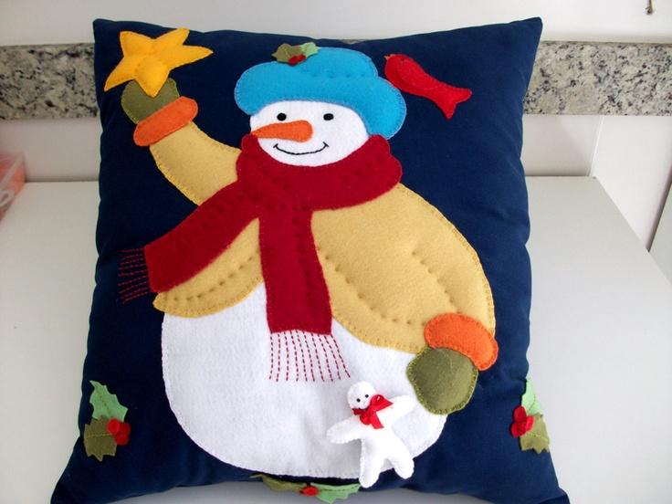 almofada boneco de neve em jeans e feltro