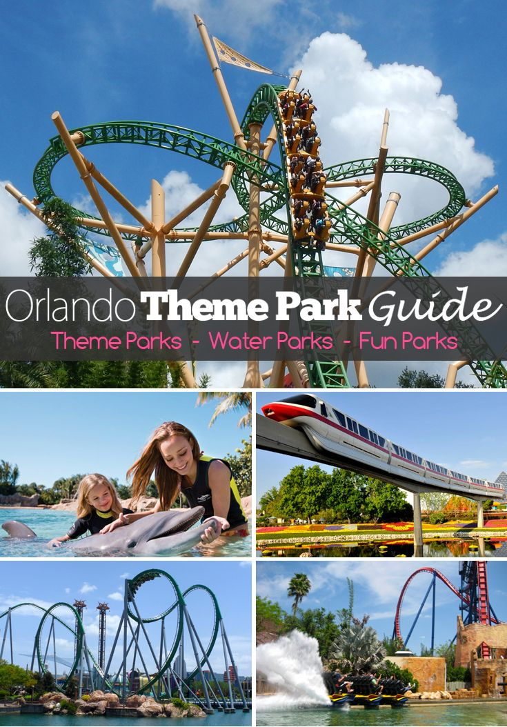 An Orlando theme park guide that lists all of the theme parks, water parks, go-kart, mini golf and fun centers in the Orlando and surrounding areas. Includes Disney, Universal, SeaWorld, Discovery Cove, Busch Gardens and many more parks.