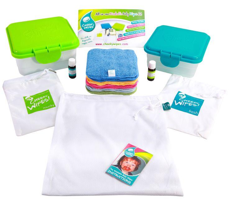 Økonomisk - enkelt - praktisk - Cheeky Wipes pakke med alt du trenger for å starte. Cheeky Wipes brukes istedet for engangsservietter, man sparer miljø, penger og huden til barnet.