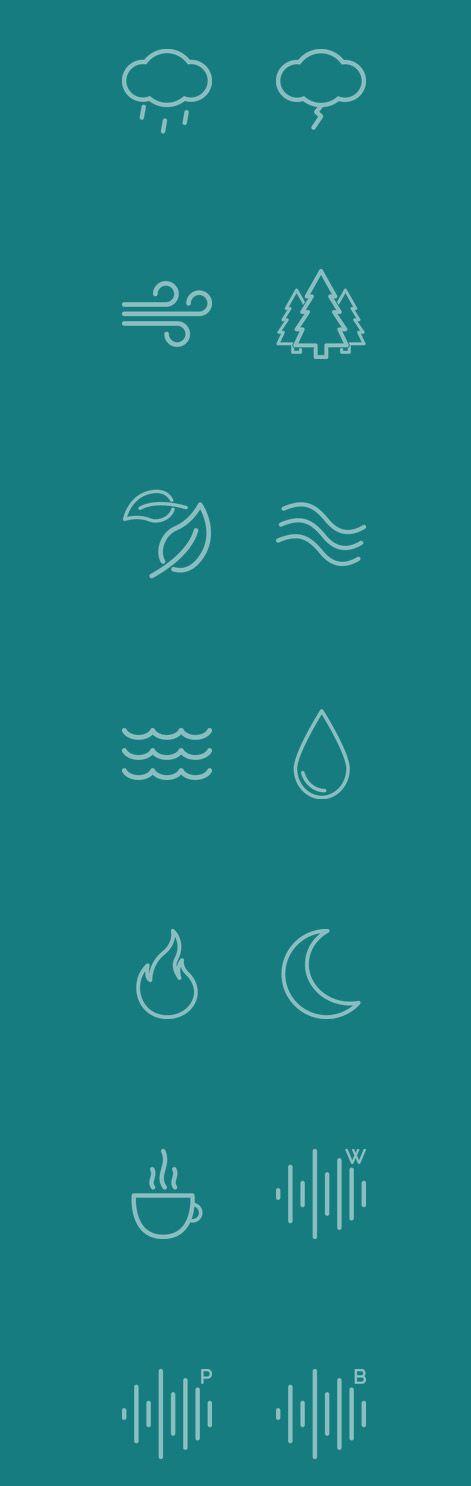 http://www.noisli.com/ Pictogrammes travaillés par le contour, interactivité sur le site internet avec la possibilité d'écouter des sons liés à chaque picto.