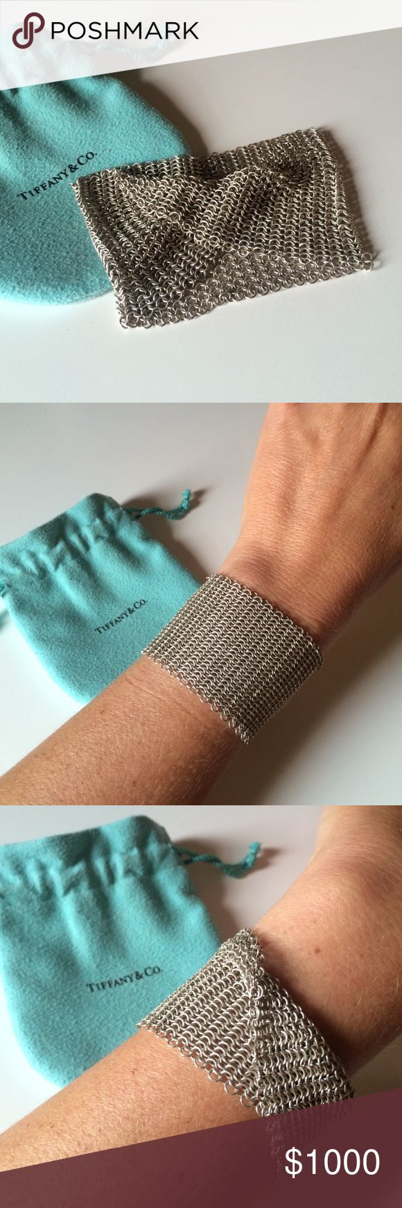 Tiffany & Co. Elsa Peretti Mesh Wide Bracelet 100% sterling silver, mesh bracelet... I received this as a gift and never wear it. It's too beautiful to not be seen! Could use a professional polish to shine its best! (Not eligible for bundles, thank you) Tiffany & Co. Jewelry Bracelets