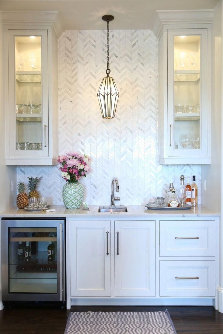 Basement Bar Idea With Images Patterned Tile Backsplash