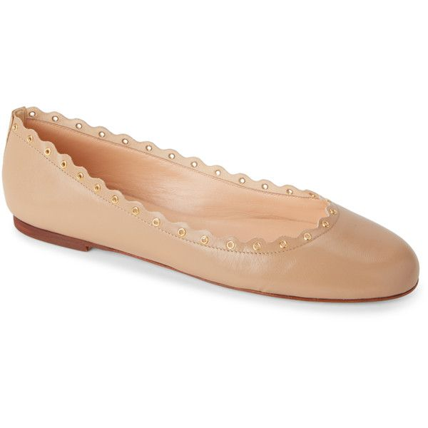 Gabriella Leather Scalloped Ballet Flats ($75) ❤ liked on Polyvore featuring shoes, flats, brown, ballet pumps, brown shoes, brown ballet flats, brown flats and leather shoes