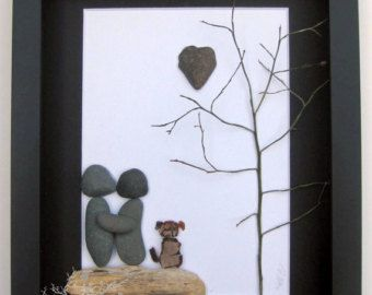 Personalized Pebble Art Beach Stone Couple With por SticksnStone