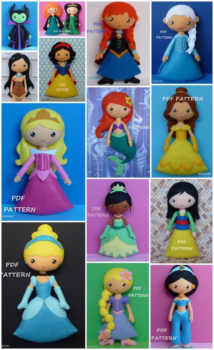 All the Disney Princess felt doll sewing patterns you'll ever need! Cinderella, Snow White, Elsa and Anna, Mulan, Pocahontas, Tiana, Belle, Sleeping Beauty, Rapunzel, Jasmine and Merida. Just too gorgeous!