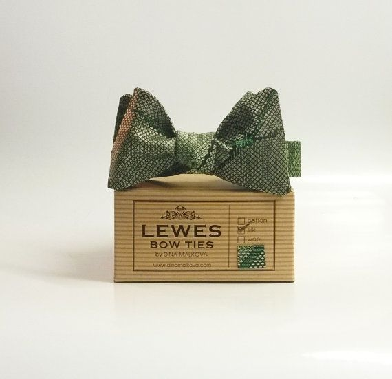 Men's bow tie  moss green and grey vintage japanese by DinaMalkova