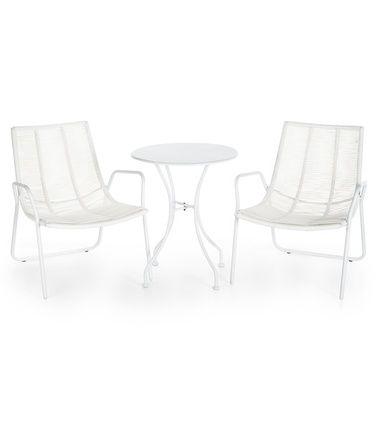 Lust-puutarhakalusteet kahdelle: pöytä ja 2 tuolia, valkoinen