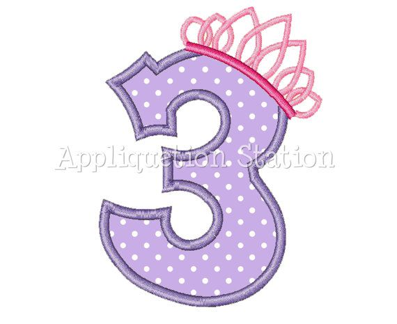 Number Three Tiara Crown 3rd Birthday Applique Machine