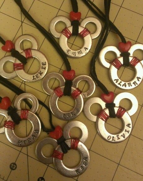 Stamped / personalized Mickey Mouse washer necklaces that I made for my Fish Extender group.