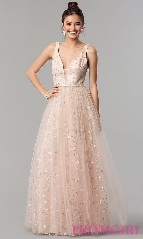 3cef17cd69c0 V-Neck Long Embroidered Prom Dress in Blush Pink in 2019 | prom ...