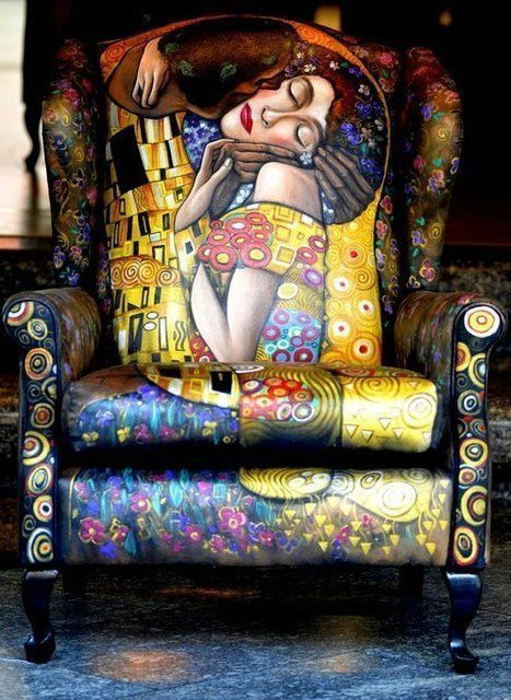 "Chair decorated to look like Klimt's ""The Kiss."" This matches nothing in my house, and yet, I do not care. WANT."