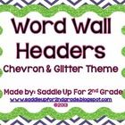 This is a set of square chevron and glitter word wall headers (A-Z). Check out my store to see other chevron and glitter themed items....