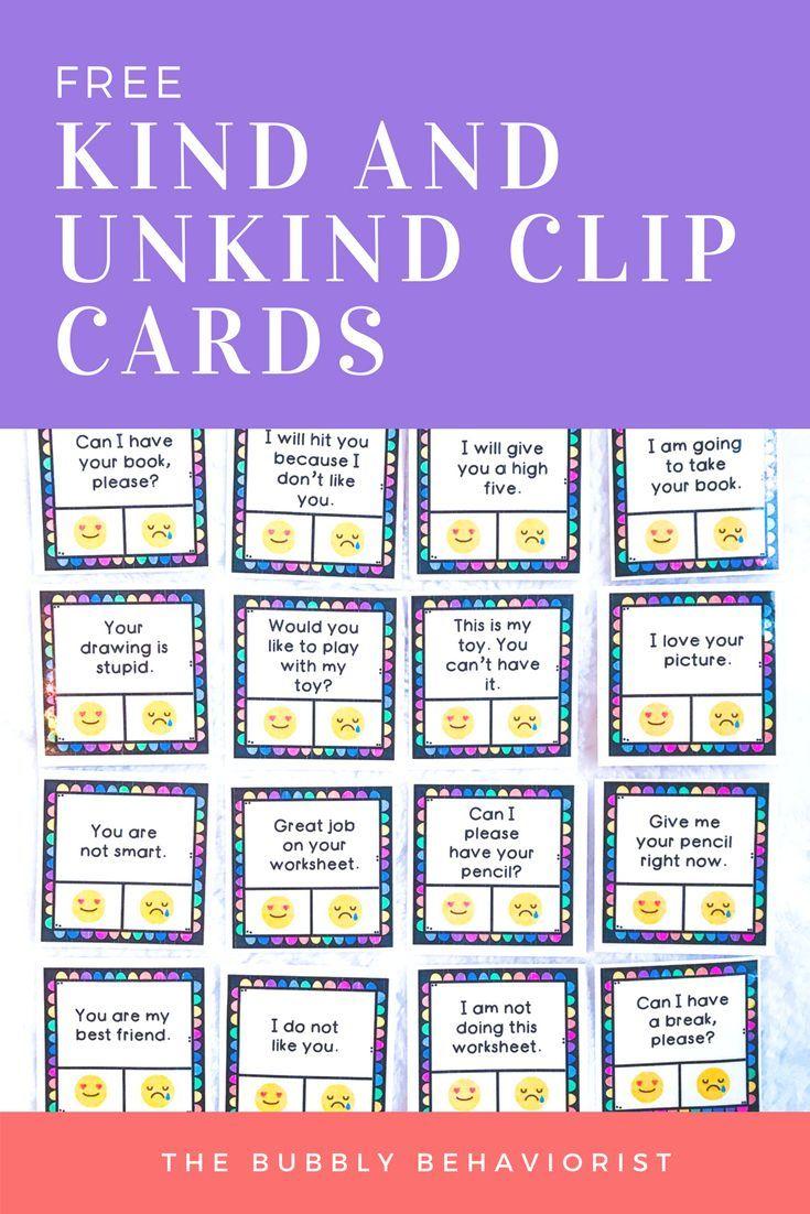 Kind vs Unkind Clip Cards  TASK CARDS  Social skills