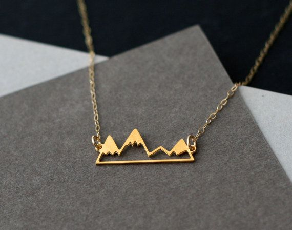 little golden mountain range necklace by WildThingStudio on Etsy, $45.00