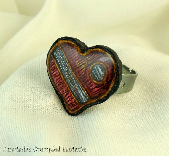 Polymer clay faux cloisonne heart ring Red by CrumpledFantazies