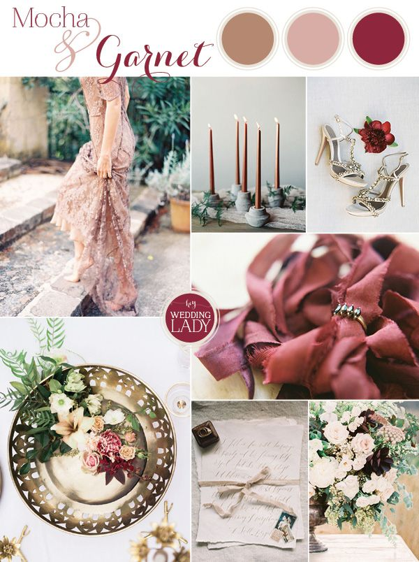 Richly Romantic Garnet and Mocha Wedding Inspiration   http://heyweddinglady.com/rich-romantic-garnet-mocha-wedding-valentines-day/