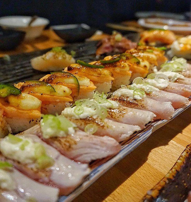Sushi game on point at KAKA! All you can eat torched and pressed sushi makes me happy.  #sushi #yum #ayce #markhamfood #dinner #foodporn #igfood #instafood #foodgasm #foodcoma #kakaayce #food #eeeeeats #fresh #foodstagram #oshizushi #aburi #nom #fish by judyyu15