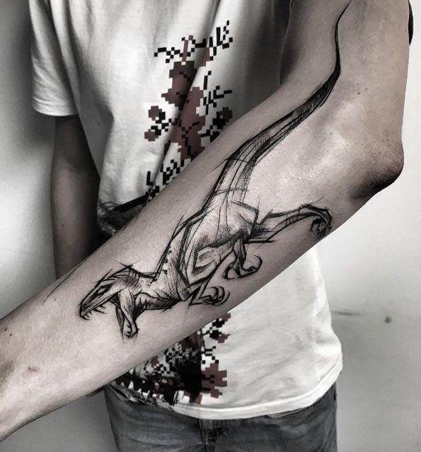 Sketch style raptor tattoo by Inez Janiak
