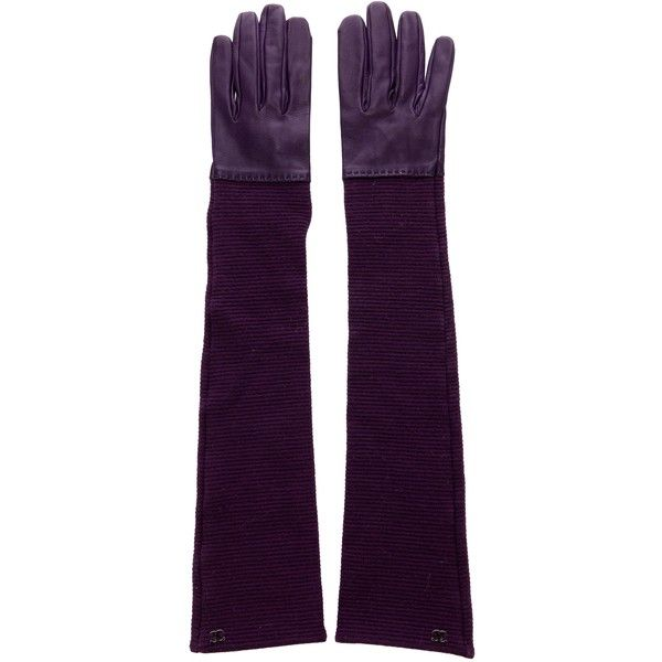 Pre-owned Chanel Knit Lambskin Gloves (£290) ❤ liked on Polyvore featuring accessories, gloves, purple, purple gloves, knit gloves, lambskin leather gloves, elbow length gloves and long purple gloves