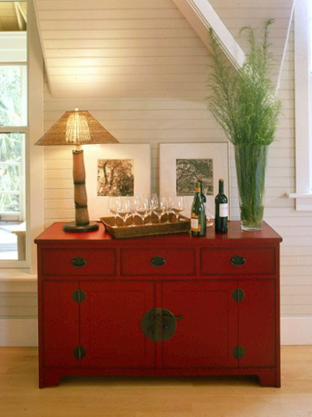 Beautiful use of a painted cabinet.  Each one is unique, but we've got tons that look so similar to this one!