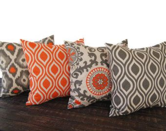 Natural pillow cover One Orange Natural Aqua by ThePillowPeople