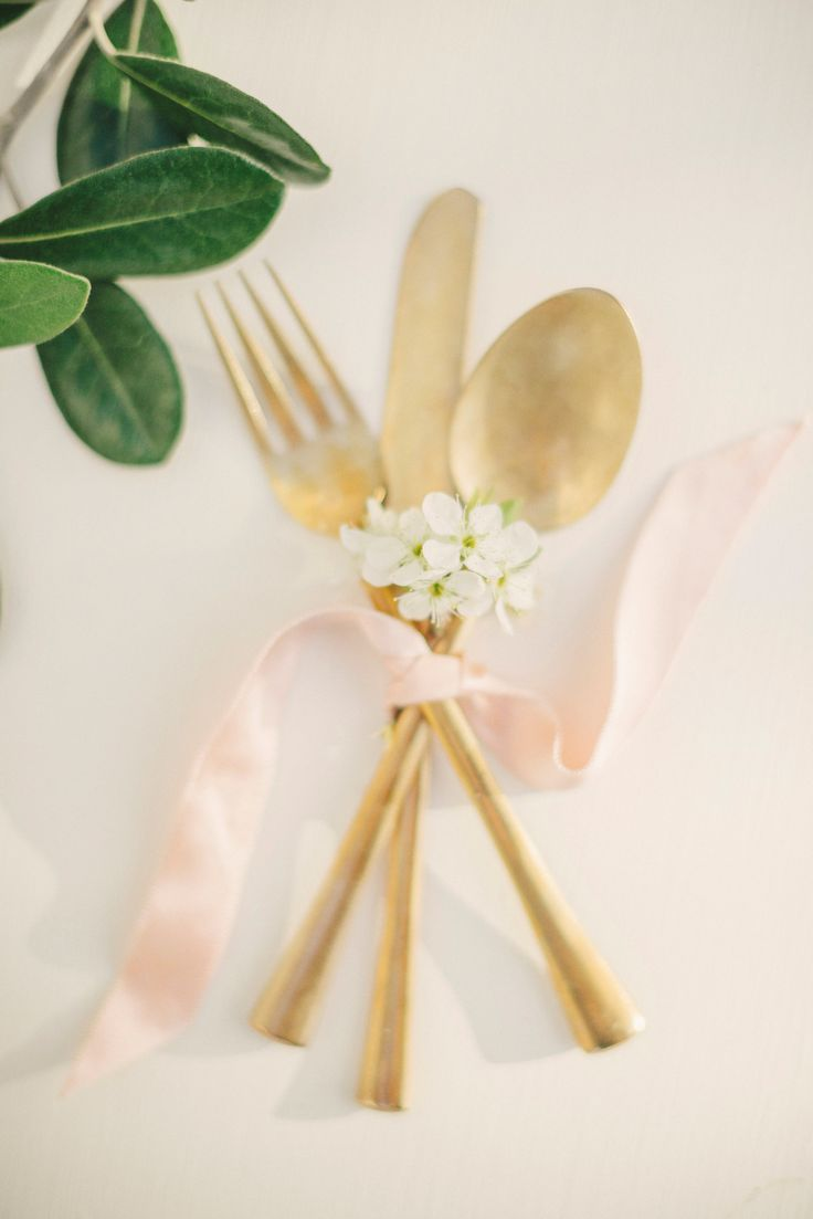 #gold, #flatware  Photography: Kate Grewal Photography - www.kategrewal.com  Read More: http://www.stylemepretty.com/australia-weddings/2014/02/14/auckland-orchard-romance-shoot/