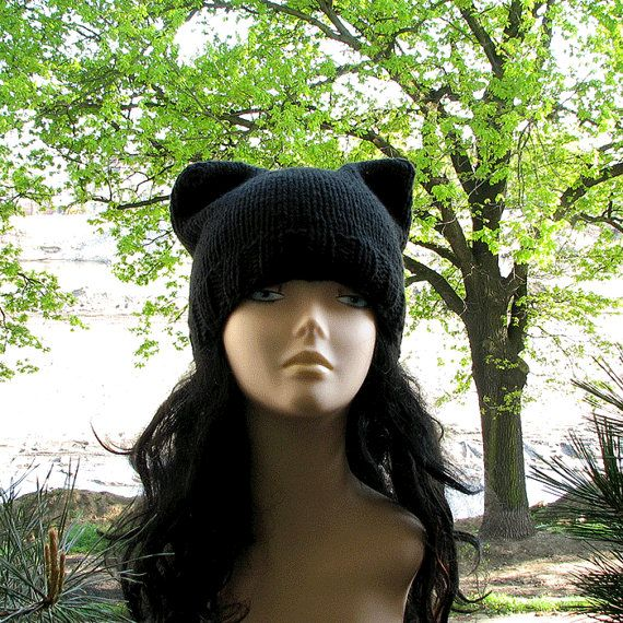 Cat Ear Hat Black Cat Hat Knit Cat Ear Hat Cat by DamovFashion