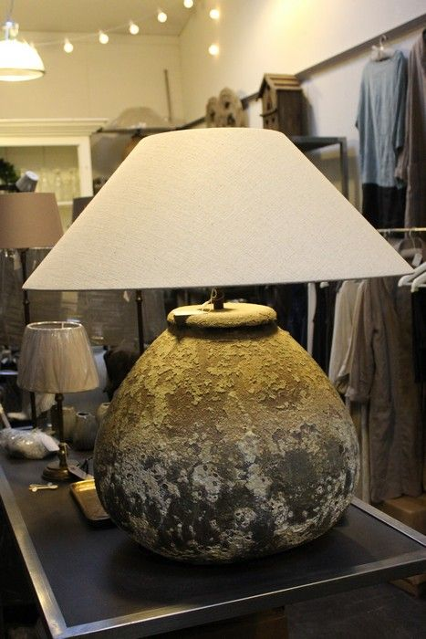 Large Antique Style Oil Lamp Ceramic Table Lamp with Oatmeal Linen Shade  Height: 540mm Diameter