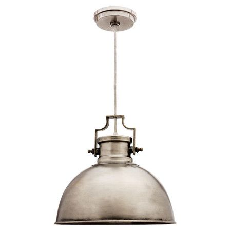 Equally at home in a rustic retreat or downtown loft, this antique nickel-finished metal pendant brims with industrial appeal. Welcome guests in the foyer wi...