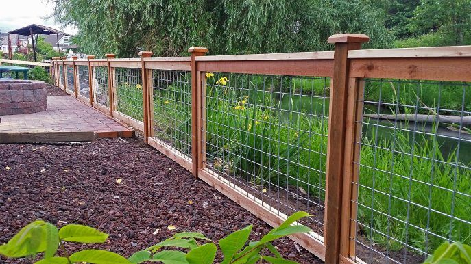 Remarkable Wood Frame Wire Mesh Fence With Images Backyard