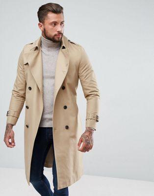 0c0c5924ef7cf Coats for Men. ASOS Shower Resistant Longline Trench Coat With Belt In Stone