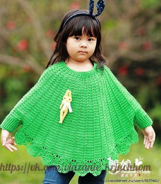 Delicadezas en crochet Gabriela: Poncho de niña en ganchillo