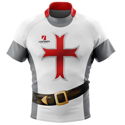 3685d32bc8 Rugby Tour Shirt in a knight theme from Scorpion Sports. Available in both  junior and