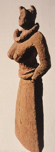Votive Figurines. Goddess or priestess, you decide... from Cretan refugee settlements in Cyprus after the Mycenaean invasions.