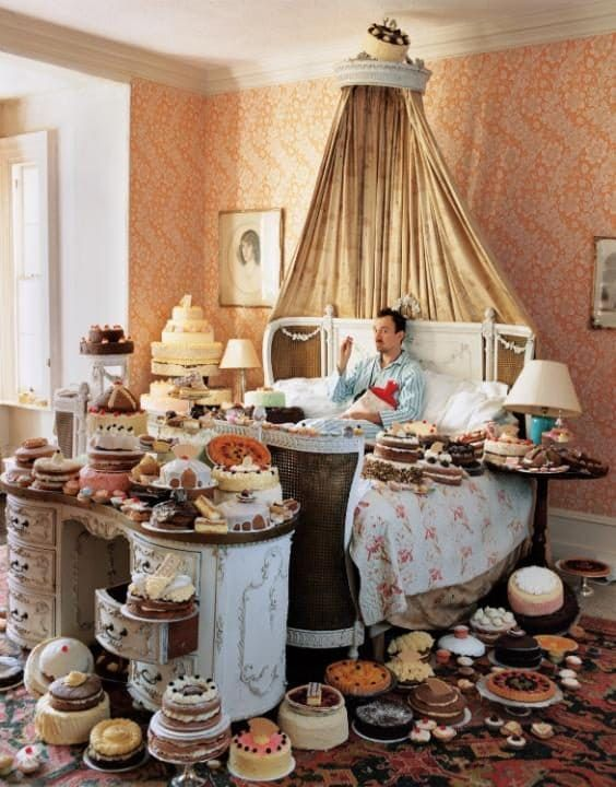 Tim Walker, Self-Portrait with Eighty Cakes, 2008; from Feast for the Eyes (Aperture, 2017)