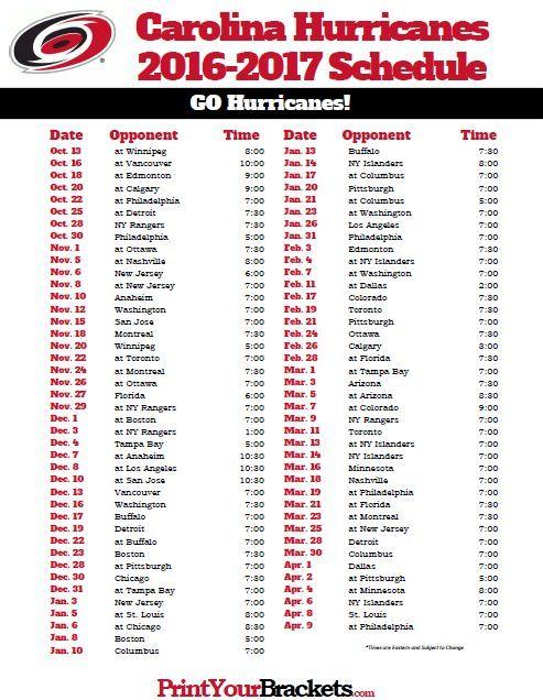 Carolina Hurricanes 2016-2017 Hockey Schedule.