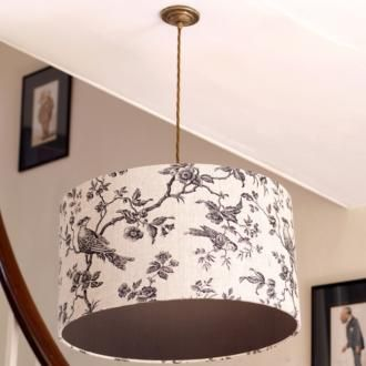 #Pendant Lampholders with an Antique Brass Ceiling Rose made by Jim Lawrence give you a great chance to bring even more style and flair to your room design - try a pendant #lampshade with a co-coordinating lining - here you can see the elegant black pattern on the Isabelle Linen fabric is enhanced by a strong black lining.